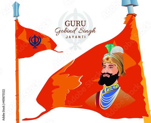 Vector Illustration of Guru Gobind Singh with Sikh's flag vector illustration.