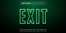 Editable Text Effect In Neon Exit Sign Style