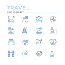 Set Color Line Icons Of Travel