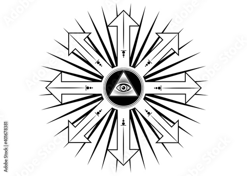 Obraz na plátně Ancient magical sigil, occult mystic symbol of chaos for witchcraft and black magic