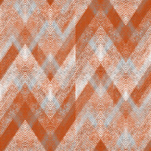 Seamless Textured Gray, Orange Zigzag Pattern.