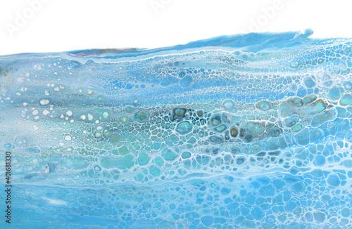 Valokuvatapetti Marble texture. Acrylic colors blue blots. Abstract background.