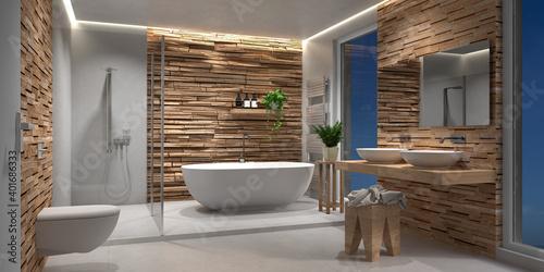Bad, Badezimmer, modern, freistehende Badewanne Fotobehang