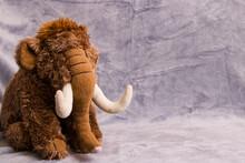 Soft Plush Toy Elephant On Gray Background