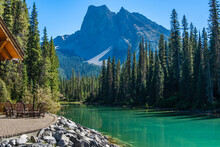 Emerald Lake In Summer Sunny Day With Mount Burgess In The Background. Yoho National Park, Canadian Rockies, British Columbia, Canada.