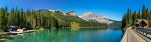 Emerald Lake Panorama View. Canoe Rentals Boathouse, Lake Lodge, Conference Centre Along Lakeside And Michael Peak In The Background. Yoho National Park, Canadian Rockies. BC, Canada.