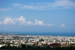 Panoramic view of city of Patras downtown and azure Mediterranean sea