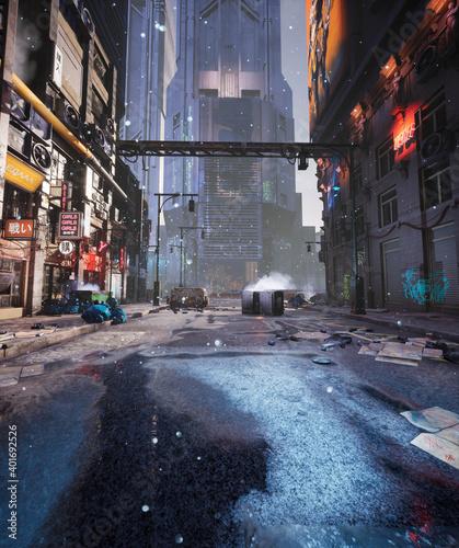 Photo A cyber punk city