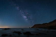 Night Landscape With Milky Way On The Coast Of The Escullos. Natural Park Of Cabo De Gata. Spain.