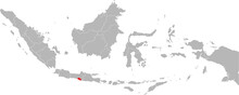 Yogyakarta Province Isolated On Indonesia Map. Gray Background. Business Concepts And Backgrounds.