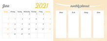 June 2021 Full Monthly Planner: June Calendar On The Left Side, And A Progress To Do List On The Right Side Of The Page. Printable Vector Illustration Art.