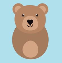 Cute Cartoon Bear Animal. Vector Illustration.