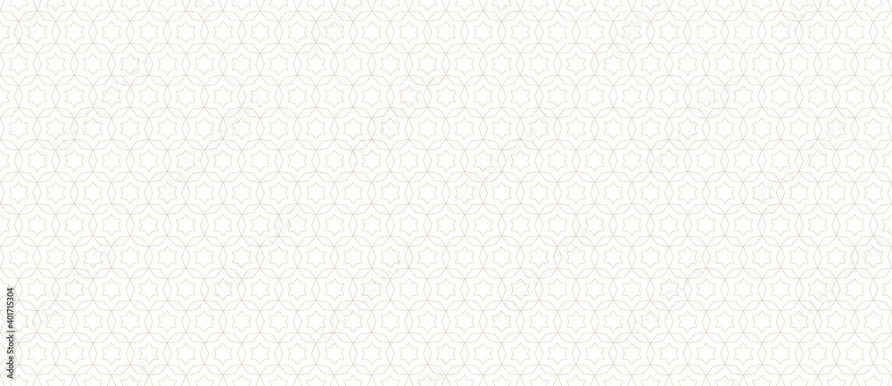 Fototapeta Subtle golden vector abstract geometric seamless pattern. Thin lines texture with grid, stars, diamonds, floral shapes. Oriental style luxury background. Delicate gold ornament, modern repeat design