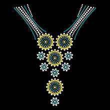 Rhinestone Applique Collar Design For T-shirt Or Blouse Hot-fix Transfer. Abstract Beautiful Glitter Applique Rhinestone Motif.