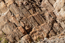 Diagonal Rock Patterns Of Titus Canyon Wall In Death Valley National Park, California, USA