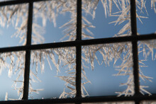 A Closeup Of Frozen Winter Window With Square-shaped Metal Lattice