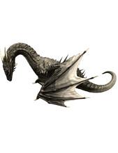 3d Ilustrion Black Dragon Wyvern