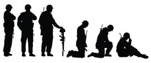 Set Of Sad Soldiers Silhouette Vector, Military Concept.