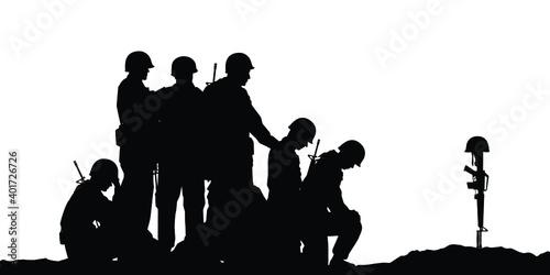 Sad soldiers troop silhouette vector, military concept. Fototapet