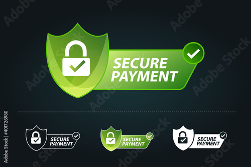 Fotografie, Obraz secure payment vector illustration, secure payment test with padlock and tick, s