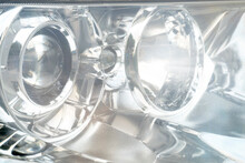 Close-up Of Beside Car Headlight Bulb. Has A Shine And A Radiant Glow.