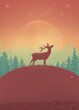 A vertical digital illustration of a deer silhouette on a hill with a full moon