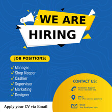 Jobs Recruitment Design For Companies. Square Social Media Post Layout. We Are Hiring Banner, Poster, Background Template