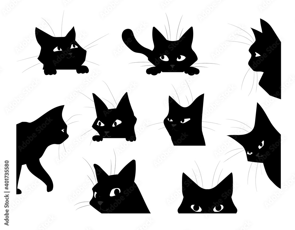 Fototapeta Funny looking cat. Cartoon black pet silhouette, cute kitten playing and spying or hunting. Isolated hand drawn kitty peeking out corners. Decorative template with domestic animal, vector flat set