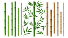 Realistic Bamboo Stick. Brown And Green Tree Branch And Stems With Leaves Isolated Decorative Closeup Elements, East Forest Trees Collection, Exotic Botanical Decor Object, Eco Material Vector 3d Set