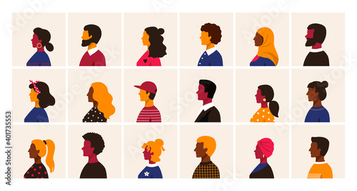 Obraz People profile. Cartoon multiethnic man and women character user avatars, trendy minimal person side view collection. Male and female old and young age portraits vector different race simple style set - fototapety do salonu