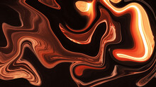 Multi-colored, Abstract Texture. Beautiful, Wavy Background. The Liquid Is Black, Orange And Yellow.