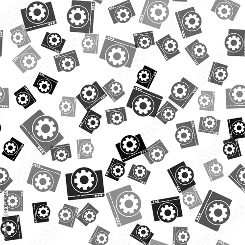 Black Browser setting icon isolated seamless pattern on white background Wallpaper Mural