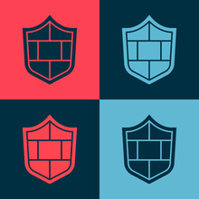 Pop Art Shield With Cyber Security Brick Wall Icon Isolated On Color Background. Data Protection Symbol. Firewall. Network Protection. Vector.