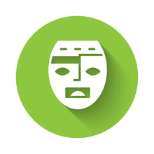 White Mexican Mayan Or Aztec Mask Icon Isolated With Long Shadow. Green Circle Button. Vector.