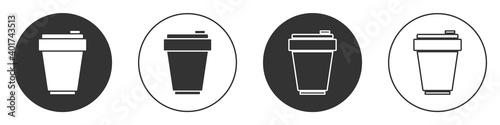 Fototapeta Black Fitness shaker icon isolated on white background. Sports shaker bottle with lid for water and protein cocktails. Circle button. Vector. obraz