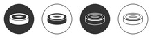 Black Checker Game Chips Icon Isolated On White Background. Circle Button. Vector.