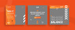 Set of editable templates for Instagram post, Facebook square, social media, gym, sport, advertisement, and business promotion, fresh design with orange color and minimalist vector (2/3)