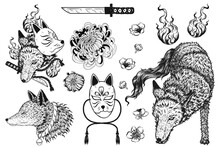 Set Of Fox Tattoo By Hand Drawing.Fox Hand Screen Printed T Shirt.Vector Tattoo Chinese Style