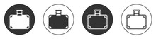 Black Suitcase For Travel Icon Isolated On White Background. Traveling Baggage Sign. Travel Luggage Icon. Circle Button. Vector.