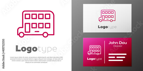 Fototapeta Logotype line Double decker bus icon isolated on white background