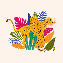 Leopards And Tropical Leaves Poster Background Vector Illustration. Trendy Wildlife Pattern