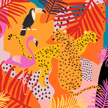 Leopards, Flamingo, Toucan And Tropical Leaves Poster Background Vector Illustration. Trendy Wildlife Pattern