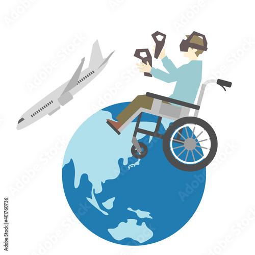 Canvastavla VRで旅行する車椅子に乗った男性