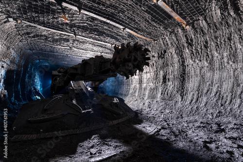 Shearer drill head in a coal mine Poster Mural XXL