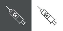 Vacuna. Asistencia Sanitaria Para Mascotas. Logotipo Zarpa De Gato En Jeringuilla Con Lineas En Fondo Gris Y Fondo Blanco