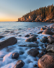 A Beautiful Shot Of The Rocky Headlands And Waterscape, Scenic Nature Of Acadia National Park, USA