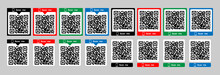 Scan Qr Code Icon. Template Scan Me Qr Code For Mobile App,smartphone.Qr Code Scanning Concept Of Pixel Art Square, Product, Promotion Label, Telephone, Screen, Device.