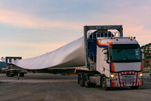 Special Transport Of Blades For Wind Turbines, Truck Transporting A Wind Turbine Blade That Due To Its Large Size Requires A Special Adapted Semi-trailer.