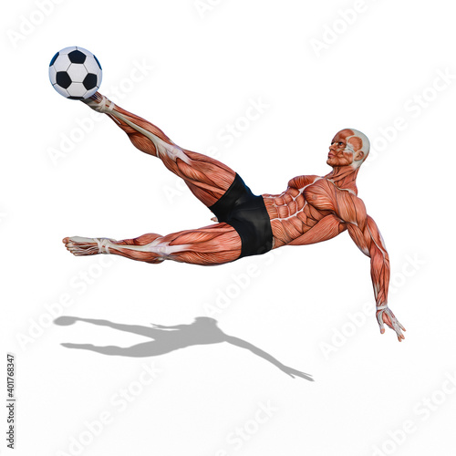 Obraz Medical muscular man jumps and kicks soccer ball, front view, photorealistic 3D Illustration, isolated on the white background. - fototapety do salonu