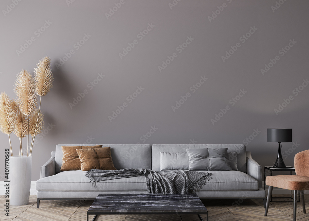 Fototapeta Modern living room interior, gray sofa on dark empty wall mockup